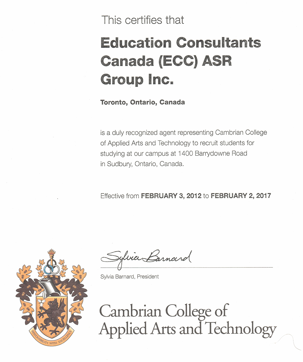 Education Consultants Canada is an Authorized Recruiter of Sheridan College for International Students