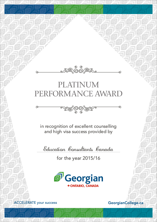 Georgian College offers Platinum Performance Award to Education Consultants Canada