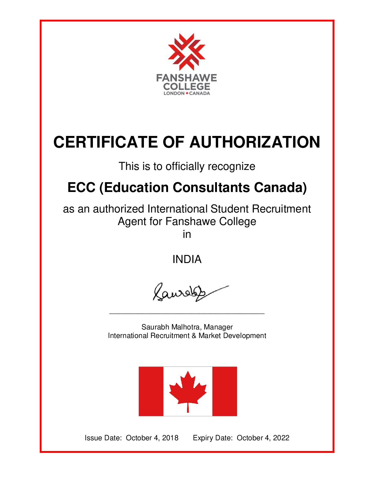 Education Consultants Canada is an authorized student recruiter for Seneca College of Applied Arts and Technology