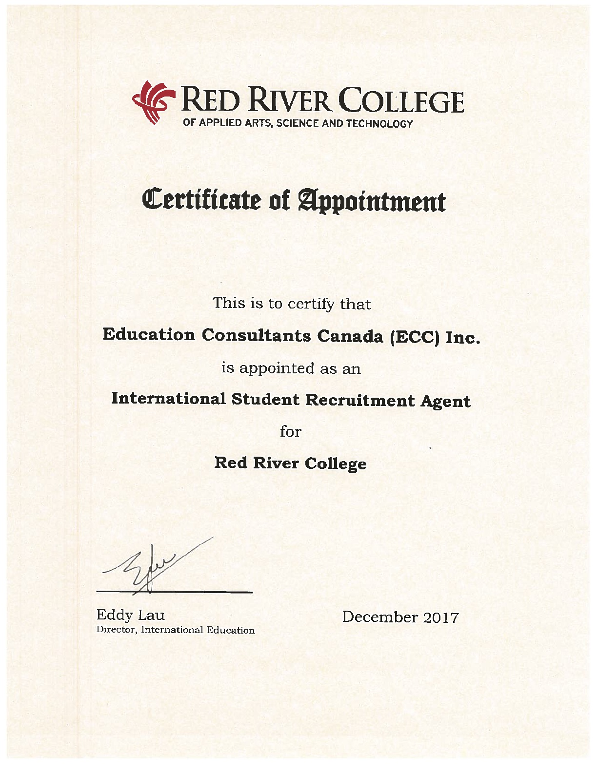 Education Consultants Canada Certified by Red River College for the student's recruitment