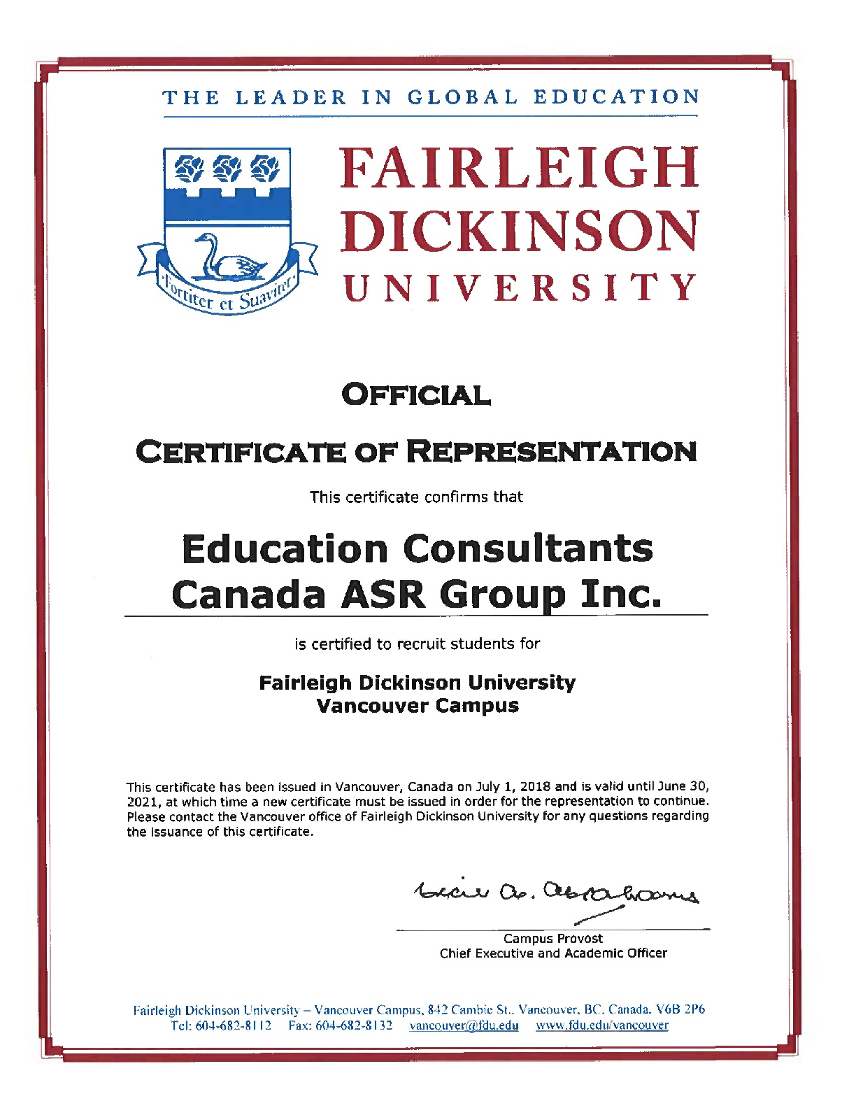 Education Consultants Canada Certified by Fairleigh Dickinson University for the student's recruitment