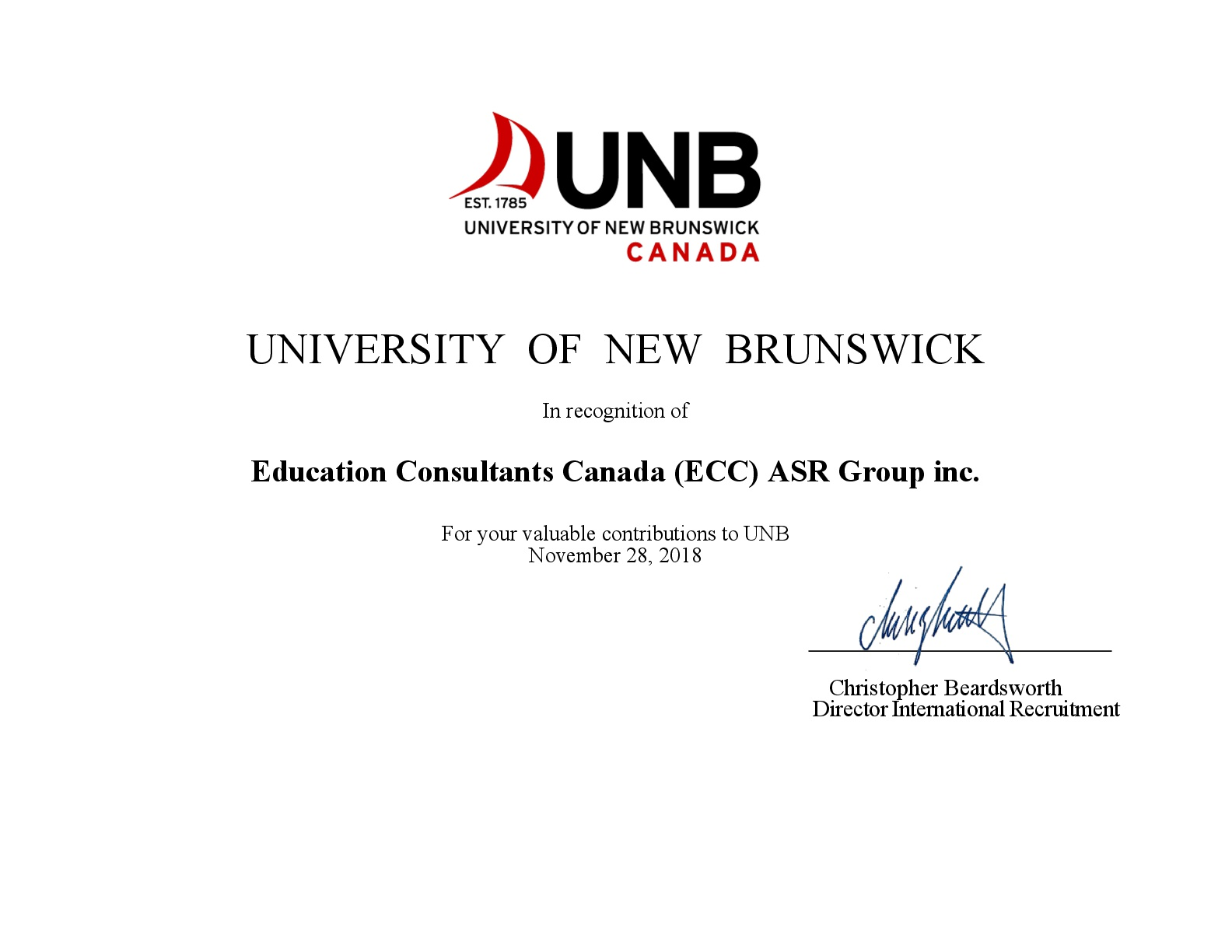 Education Consultants Canada Authorized recruiter of the University of New Brunswick for international students recruitment