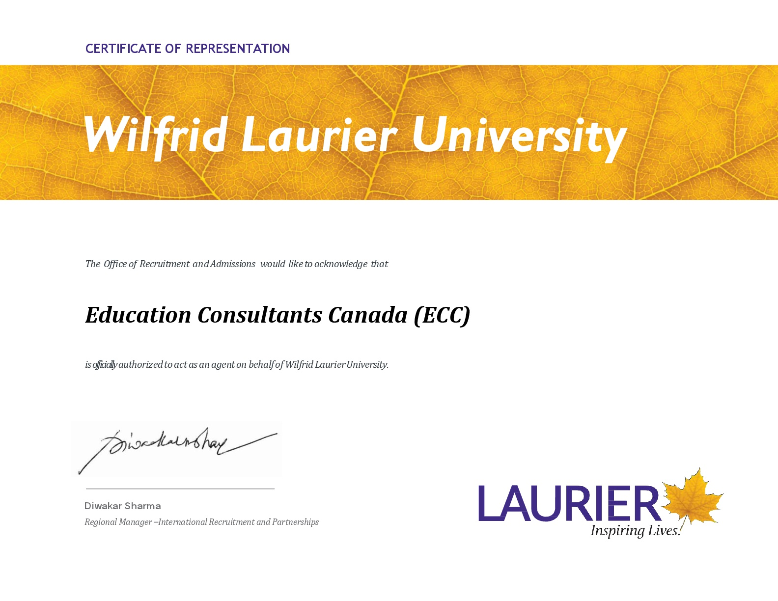 Education Consultants Canada Authorized recruiter of  Wilfrid Laurier University for international students recruitment