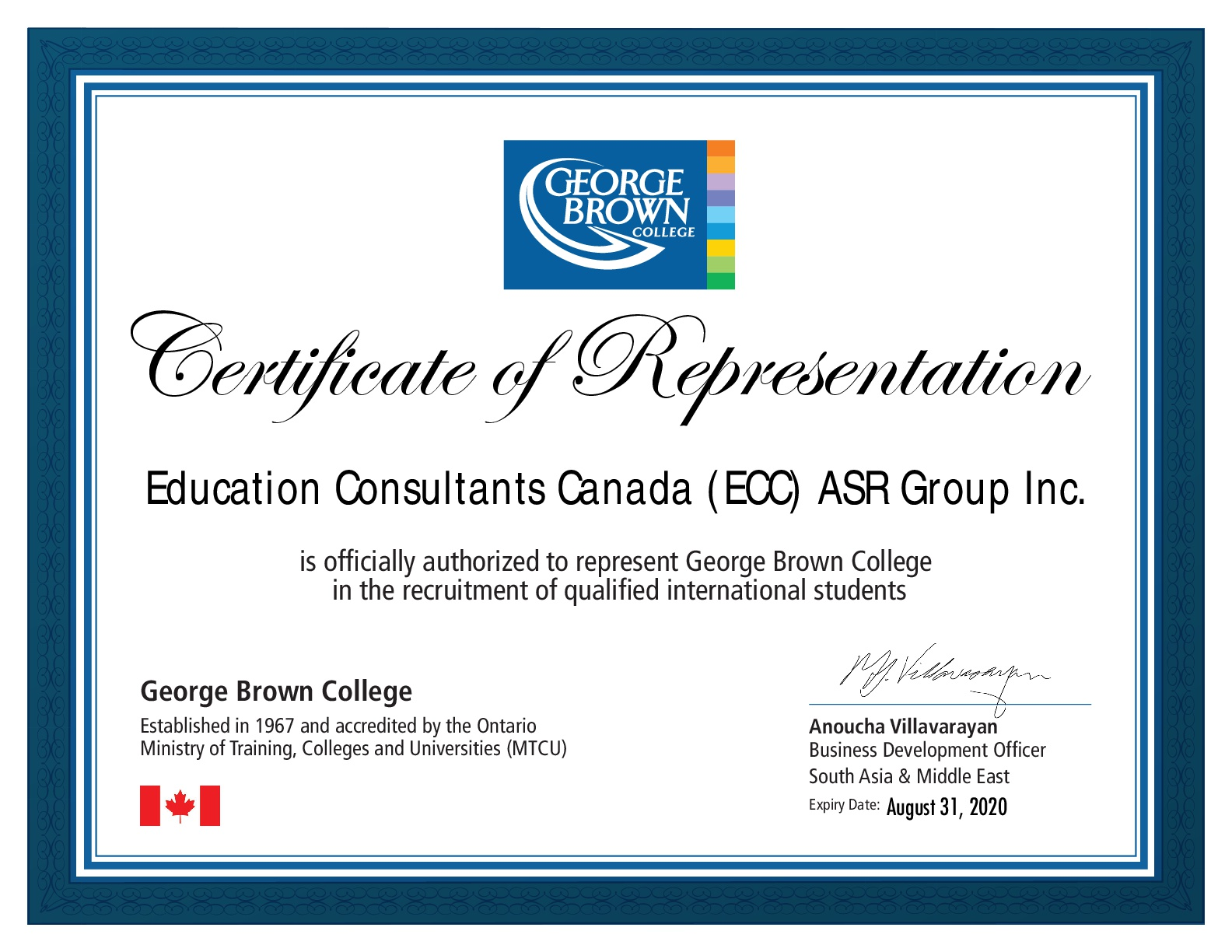 Education Consultants Canada Authorized recruiter of George Brown College for the qualified international students