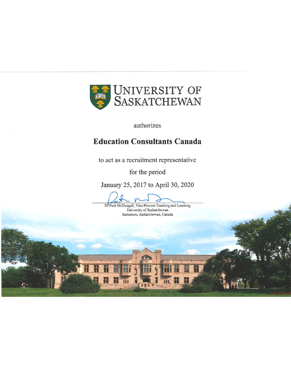 Education Consultants Canada Authorized recruiter of the University of Saskatchewan for international students recruitment