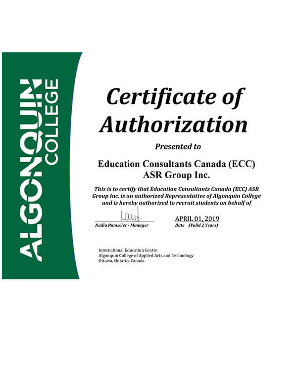 Education Consultants Canada is an authorized student recruiter for Algonquin college